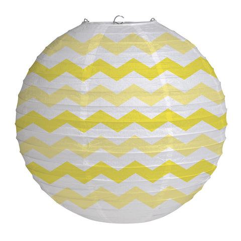 Yellow Bulk Party Chevron Paper Lanterns 12""