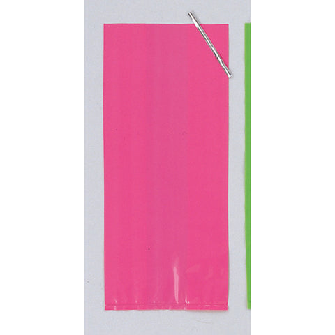 Hot Pink Bulk Party Cello Treat Bags With Ties Large