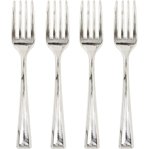 Metallic Silver Mini Disposable Forks-Disposable Catering Supplies-Creative Converting-288-
