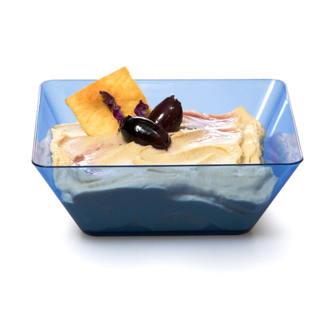 "Blue Mini Disposable Bowl Square 5"" Containers"