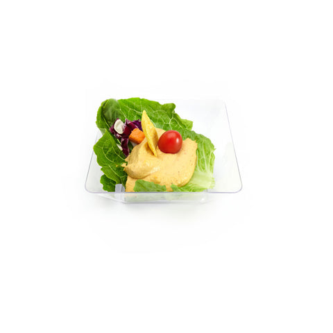 "Clear Mini Disposable Bowl Square 5"" Containers"