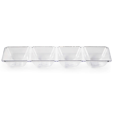 "Clear Disposable Catering Plastic Trays 16"" Divided"