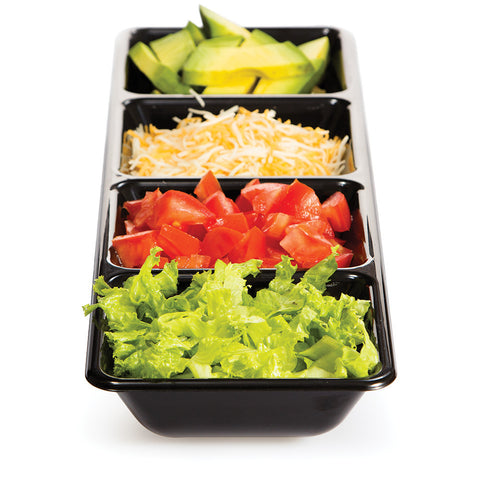 "Black Disposable Catering Plastic Trays 16"" Divided"