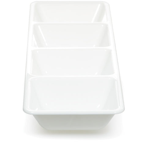 "White Disposable Catering Plastic Trays 16"" Divided-Disposable Catering Supplies-Creative Converting-6-"