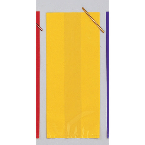 Yellow Bulk Party Cello Treat Bags With Ties Small