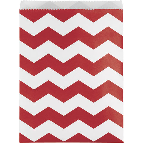 Red Bulk Party Chevron Paper Treat Bags Large-Disposable Catering Supplies-Creative Converting-120-