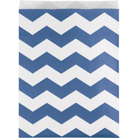 Blue Bulk Party Chevron Paper Treat Bags Large
