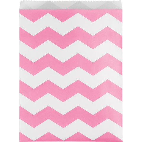 Candy Pink Bulk Party Chevron Paper Treat Bags Large
