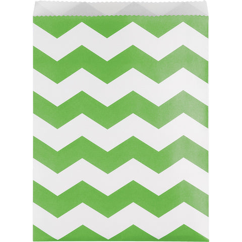 Lime Green Bulk Party Chevron Paper Treat Bags Large