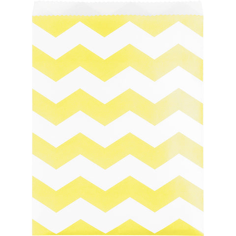 Yellow Bulk Party Chevron Paper Treat Bags Large-Disposable Catering Supplies-Creative Converting-120-