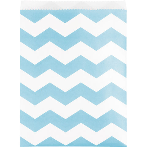 Pastel Baby Blue Bulk Party Chevron Paper Treat Bags Large-Disposable Catering Supplies-Creative Converting-120-