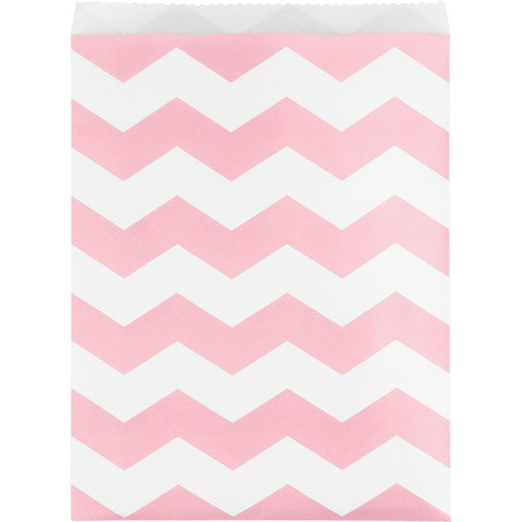Pink Bulk Party Chevron Paper Treat Bags Large