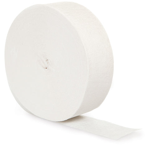 White Bulk Party Crepe Paper Streamers 500' (12/Case)