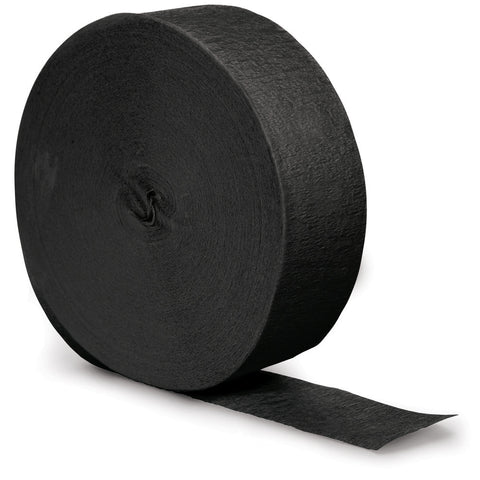 Black Bulk Party Crepe Paper Streamers 500' (12/Case)-Solid Color Party Tableware-Creative Converting-12-