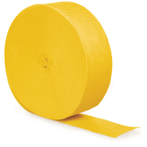 School Bus Yellow Bulk Party Crepe Paper Streamers 500' (12/Case)