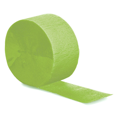 Lime Green Bulk Party Crepe Paper Streamers 81' (12/Case)-Solid Color Party Tableware-Creative Converting-12-