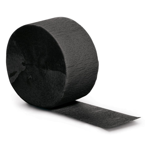 Black Bulk Party Crepe Paper Streamers 81' (12/Case)-Solid Color Party Tableware-Creative Converting-12-