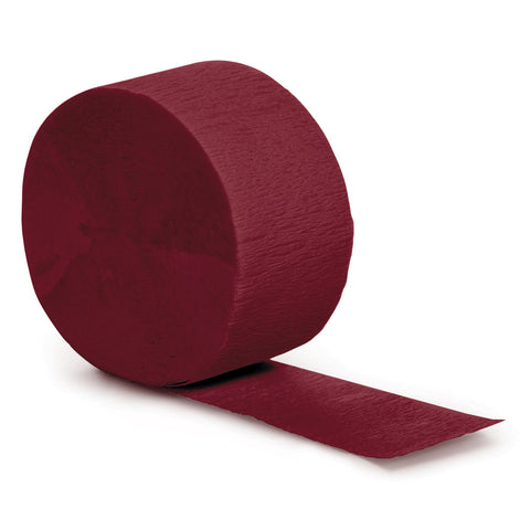 Burgundy Bulk Party Crepe Paper Streamers 81' (12/Case)-Solid Color Party Tableware-Creative Converting-12-