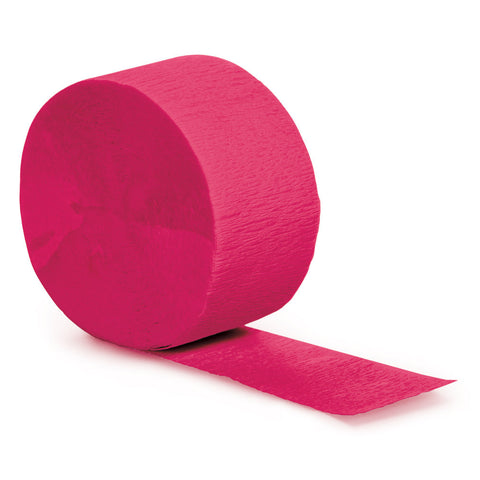 Hot Magenta Pink Bulk Party Crepe Paper Streamers 81' (12/Case)-Solid Color Party Tableware-Creative Converting-12-
