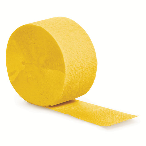 School Bus Yellow Bulk Party Crepe Paper Streamers 81' (12/Case)-Solid Color Party Tableware-Creative Converting-12-