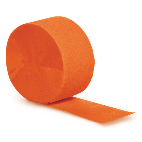 Orange Bulk Party Crepe Paper Streamers 81' (12/Case)-Solid Color Party Tableware-Creative Converting-12-
