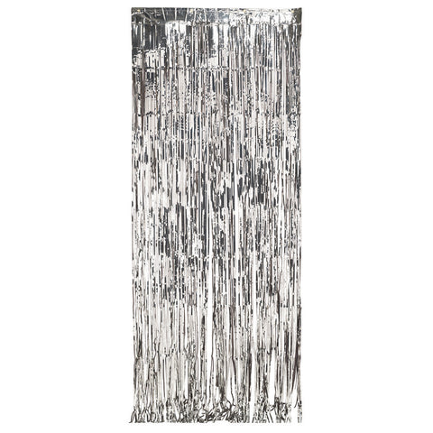 Silver Bulk Party Foil Door Curtains 3 ft. x 8 ft. Decorations