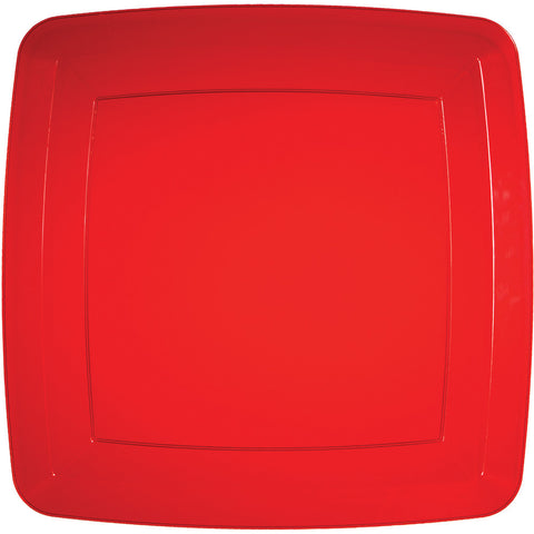 Red Disposable Catering Dinner Plates Square 10.25""