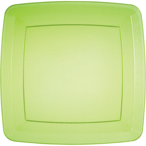 Green Disposable Catering Dinner Plates Square 10.25""