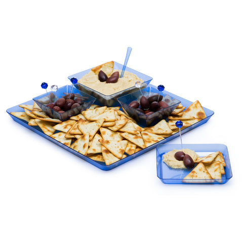 Blue Disposable Catering Party Tray Platters 11.5""
