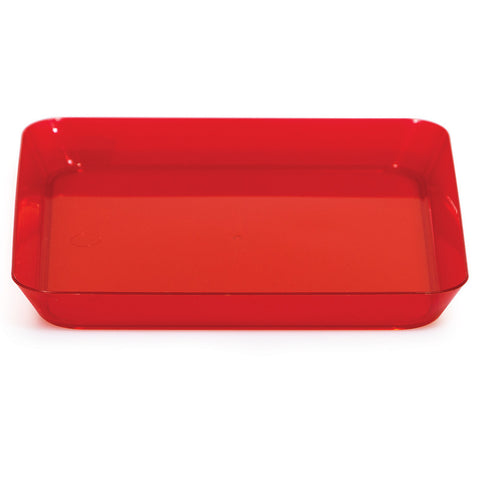 Red Mini Disposable Appetizer Plates Square 5""