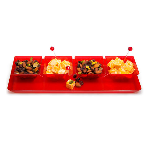 "Red Disposable Catering Party Tray Platters 6"" x 15.5"""
