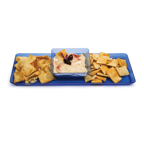 "Blue Disposable Catering Party Tray Platters 6"" x 15.5"""
