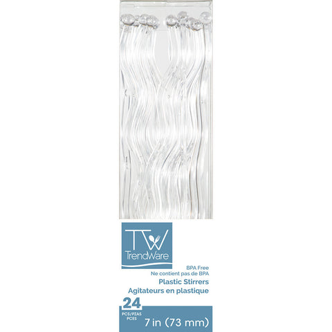 Clear Disposable Party Drink Cocktail Stirrers Wavy-Disposable Catering Supplies-Creative Converting-144-