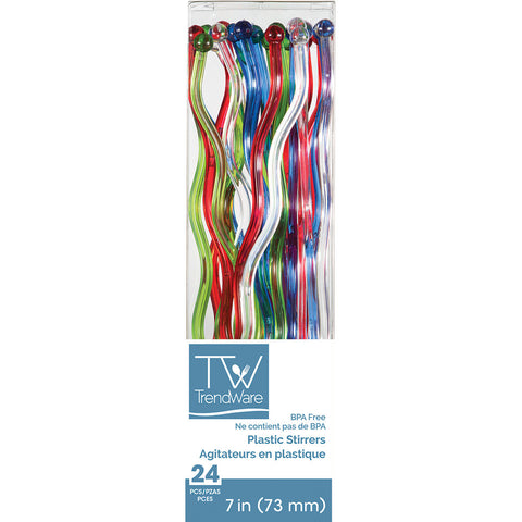 Multicolor Disposable Party Drink Cocktail Stirrers Wavy-Disposable Catering Supplies-Creative Converting-144-