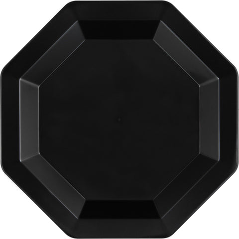 Black Disposable Catering Lunch Plates Octagonal-Disposable Catering Supplies-Creative Converting-72-