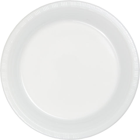 "White Bulk Party Plastic Dinner Plates 9"" (600/Case)-Solid Color Party Tableware-Creative Converting-600-"