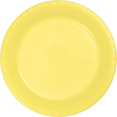 "Yellow Bulk Party Plastic Banquet Dinner Plates 10.25"" (240/Case)-Solid Color Party Tableware-Creative Converting-240-"