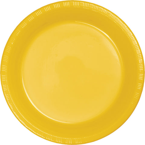 "School Bus Yellow Bulk Party Plastic Dinner Plates 9"" (240/Case)-Solid Color Party Tableware-Creative Converting-240-"