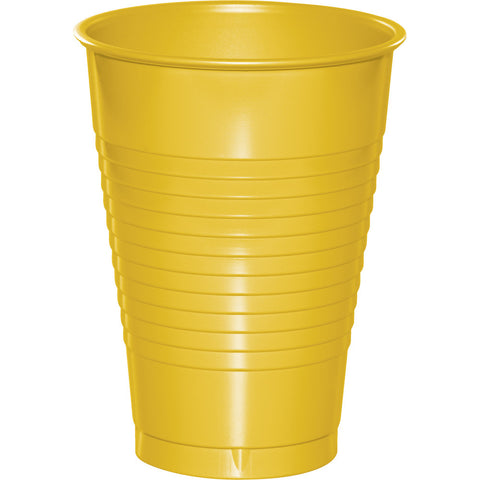 School Bus Yellow Bulk Party Plastic Cups 12 oz. (240/Case)-Solid Color Party Tableware-Creative Converting-240-