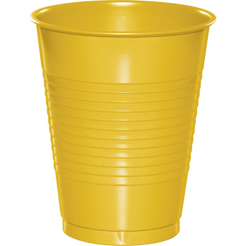 School Bus Yellow Bulk Party Plastic Cups 16 oz. (240/Case)-Solid Color Party Tableware-Creative Converting-240-