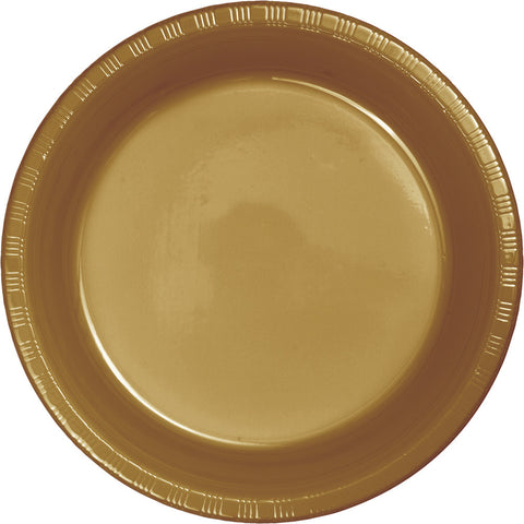 "Gold Bulk Party Plastic Dinner Plates 9"" (600/Case)-Solid Color Party Tableware-Creative Converting-600-"