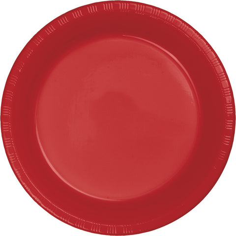 "Red Bulk Party Plastic Dinner Plates 9"" (600/Case)-Solid Color Party Tableware-Creative Converting-600-"