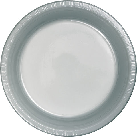 "Silver Bulk Party Plastic Dinner Plates 9"" (600/Case)-Solid Color Party Tableware-Creative Converting-600-"