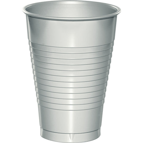 Silver Bulk Party Plastic Cups 12 oz. (240/Case)-Solid Color Party Tableware-Creative Converting-240-
