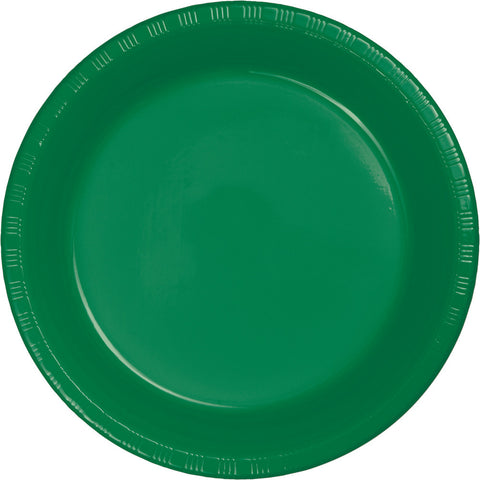 "Emerald Green Bulk Party Plastic Dinner Plates 9"" (240/Case)-Solid Color Party Tableware-Creative Converting-240-"