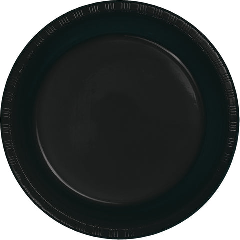 "Black Bulk Party Plastic Dinner Plates 9"" (600/Case)"