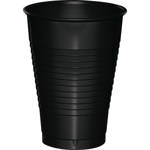 Black Bulk Party Plastic Cups 12 oz. (240/Case)-Solid Color Party Tableware-Creative Converting-240-