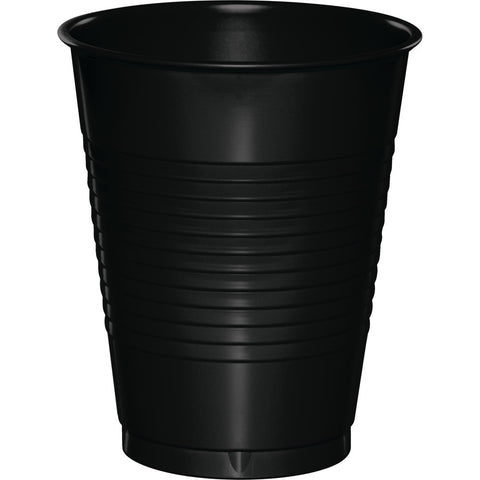 Black Bulk Party Plastic Cups 16 oz. (240/Case)-Solid Color Party Tableware-Creative Converting-240-