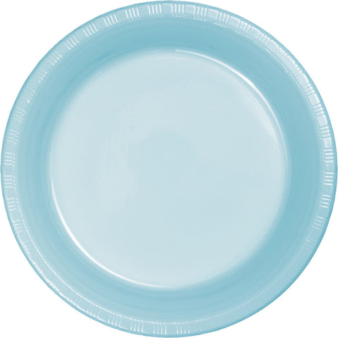 "Baby Blue Bulk Party Plastic Dinner Plates 9"" (240/Case)-Solid Color Party Tableware-Creative Converting-240-"