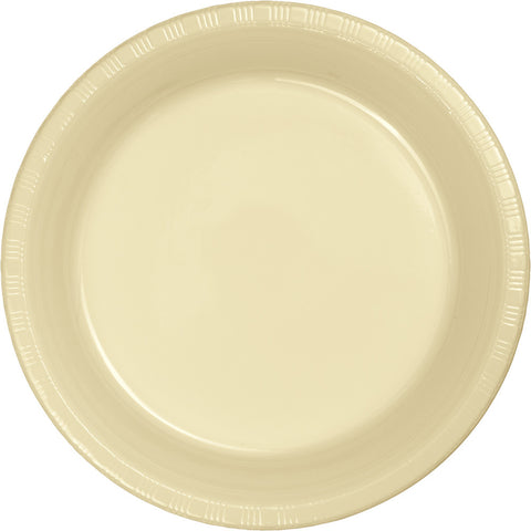 "Ivory Bulk Party Plastic Banquet Dinner Plates 10.25"" (240/Case)-Solid Color Party Tableware-Creative Converting-240-"